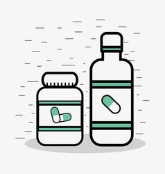 Flat line jar medical pills vector