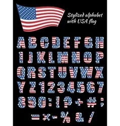 Font with an American flag vector image vector image