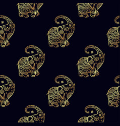 gold elephant seamless pattern vector image vector image