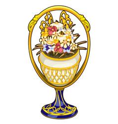 Golden luxury vase with precious flowers vector