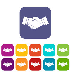 Handshake icons set vector