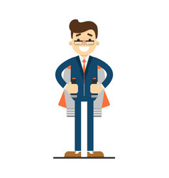 Happy businessman with rocket backpack vector