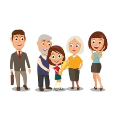 Happy family surprised woman face and businessman vector