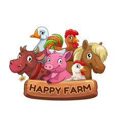Happy farm title banner for game design vector