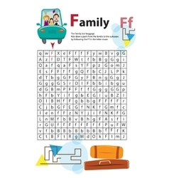 Letter Maze F This worksheet helps kids recognize vector image