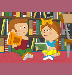 Little girl and boy sitting on floor in library vector