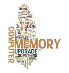 Memory upgrade text background word cloud concept vector