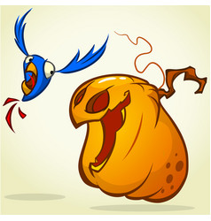 pumpkin catching the bird vector image