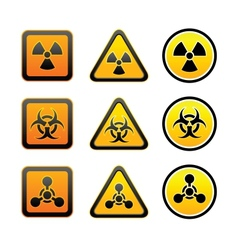 Set hazard warning radiation symbols vector