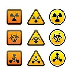 Set hazard warning radiation symbols vector image vector image