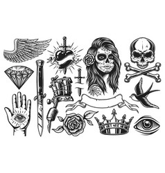 set of vintage tattoo elements vector image vector image