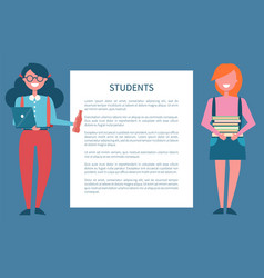students poster set place for text in frame female vector image