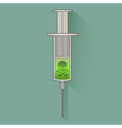 Syringe with skull vector image vector image