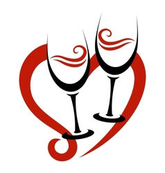 Two abstract glasses of red wine heart vector