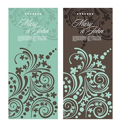 Set of antique wedding invitation card with vector