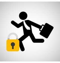 Businessman silhouette running secure vector