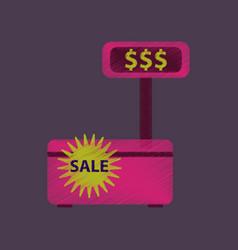 Flat shading style icon cash machine sale vector