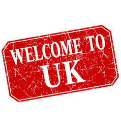 Welcome to uk red square grunge stamp vector
