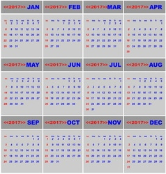 2017 calendar for business template vector image