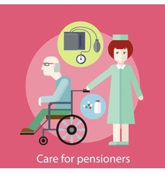 Care for pensioners vector