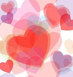 Seamless transparent multicolor hearts pattern vector