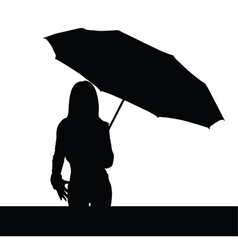 Girl with umbrella black illutration vector