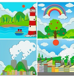 Four scenes of ocean and city vector