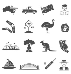 Australia black white icons set vector