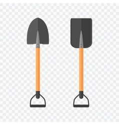 Shovel isolated on checked background vector