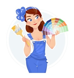 Beautiful girl with paint vector