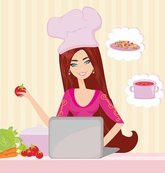 Housewife looking in laptop during dinner vector