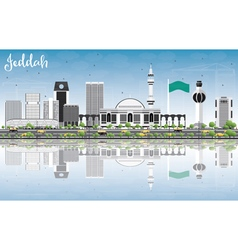 Jeddah skyline with gray buildings blue sky vector