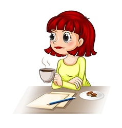 A businesswoman taking her cup of tea while making vector