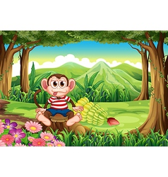 A forest with a monkey above the stump vector image