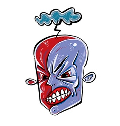 Angry face icon with storming cloud vector image