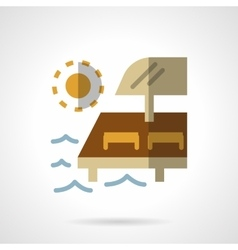 Beach relaxing flat color design icon vector image vector image