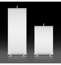 Blank white roll up standing banners set vector