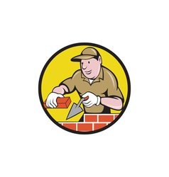 Bricklayer bricks trowel circle cartoon vector