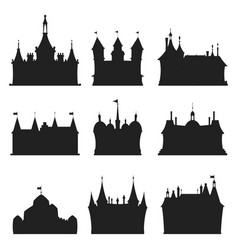 Cartoon castle architecture silhouette vector