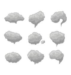 cartoon grey smoke fog set vector image