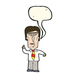 Cartoon grumpy boss with speech bubble vector