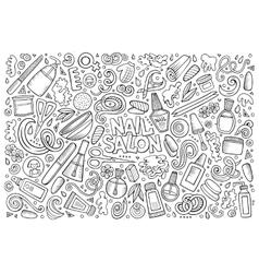 Cartoon set of nail salon theme objects vector