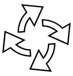 Centrifugal arrows stroke icon vector
