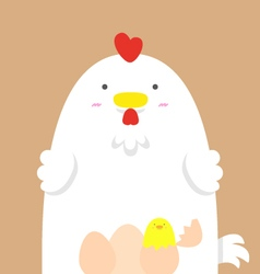 cute big fat white hen vector image vector image