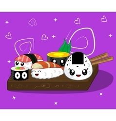 Cute kawaii cartoon rolls vector