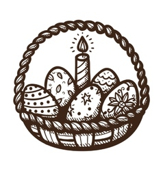 Easter basket with candle and eggs vector image vector image
