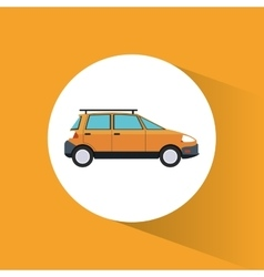 Eco car ecology transport yellow background vector