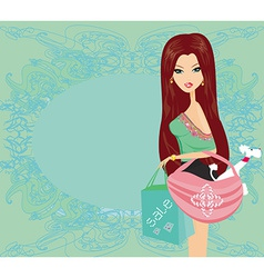Fashion girl with dog in her bag shopping vector