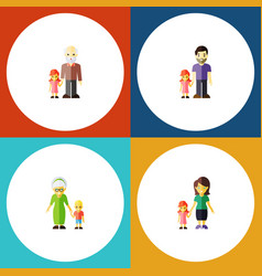 flat icon people set of father mother grandpa vector image vector image