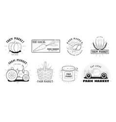 Fresh food labels set farm market various logo vector
